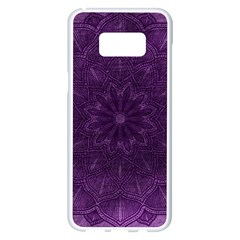 Background Purple Mandala Lilac Samsung Galaxy S8 Plus White Seamless Case by Celenk