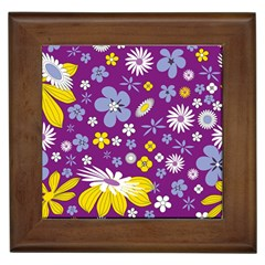 Floral Flowers Framed Tiles by Celenk