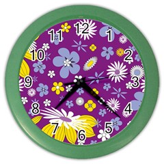 Floral Flowers Color Wall Clocks by Celenk