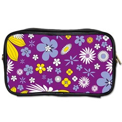 Floral Flowers Toiletries Bags 2 Side by Celenk
