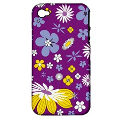 Floral Flowers Apple Iphone 4/4s Hardshell Case (pc+silicone) by Celenk