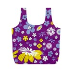 Floral Flowers Full Print Recycle Bags (M)  Front