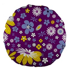 Floral Flowers Large 18  Premium Flano Round Cushions by Celenk