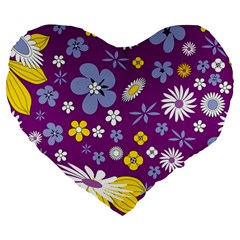Floral Flowers Large 19  Premium Flano Heart Shape Cushions by Celenk