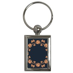 Floral Vintage Royal Frame Pattern Key Chains (rectangle)  by Celenk
