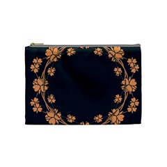 Floral Vintage Royal Frame Pattern Cosmetic Bag (medium)  by Celenk