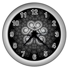 Fractal Filigree Lace Vintage Wall Clocks (silver)  by Celenk