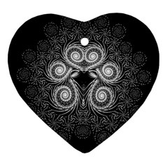 Fractal Filigree Lace Vintage Heart Ornament (two Sides) by Celenk