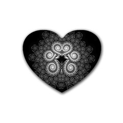 Fractal Filigree Lace Vintage Rubber Coaster (heart)  by Celenk