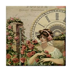 French Vintage Girl Roses Clock Tile Coasters by Celenk