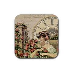 French Vintage Girl Roses Clock Rubber Coaster (square)  by Celenk