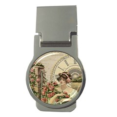 French Vintage Girl Roses Clock Money Clips (round)