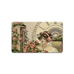 French Vintage Girl Roses Clock Magnet (name Card) by Celenk