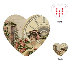 French Vintage Girl Roses Clock Playing Cards (heart)  by Celenk