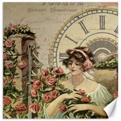 French Vintage Girl Roses Clock Canvas 20  X 20