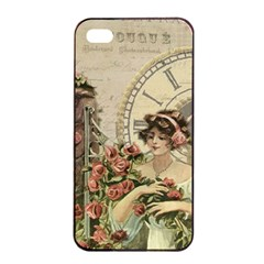 French Vintage Girl Roses Clock Apple Iphone 4/4s Seamless Case (black)
