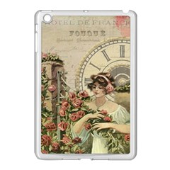 French Vintage Girl Roses Clock Apple Ipad Mini Case (white)