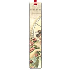 French Vintage Girl Roses Clock Large Book Marks by Celenk