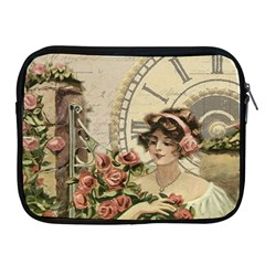French Vintage Girl Roses Clock Apple Ipad 2/3/4 Zipper Cases by Celenk