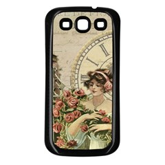 French Vintage Girl Roses Clock Samsung Galaxy S3 Back Case (black) by Celenk