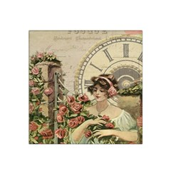 French Vintage Girl Roses Clock Satin Bandana Scarf