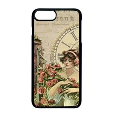 French Vintage Girl Roses Clock Apple Iphone 8 Plus Seamless Case (black) by Celenk