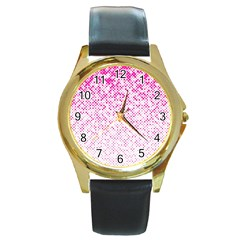 Halftone Dot Background Pattern Round Gold Metal Watch by Celenk
