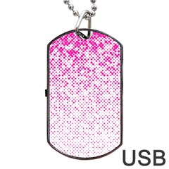 Halftone Dot Background Pattern Dog Tag Usb Flash (two Sides) by Celenk