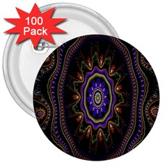 Fractal Vintage Colorful Decorative 3  Buttons (100 Pack)  by Celenk