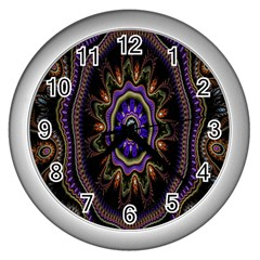 Fractal Vintage Colorful Decorative Wall Clocks (silver)  by Celenk