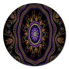 Fractal Vintage Colorful Decorative Magnet 5  (round)