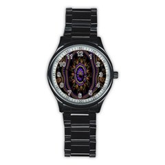 Fractal Vintage Colorful Decorative Stainless Steel Round Watch by Celenk