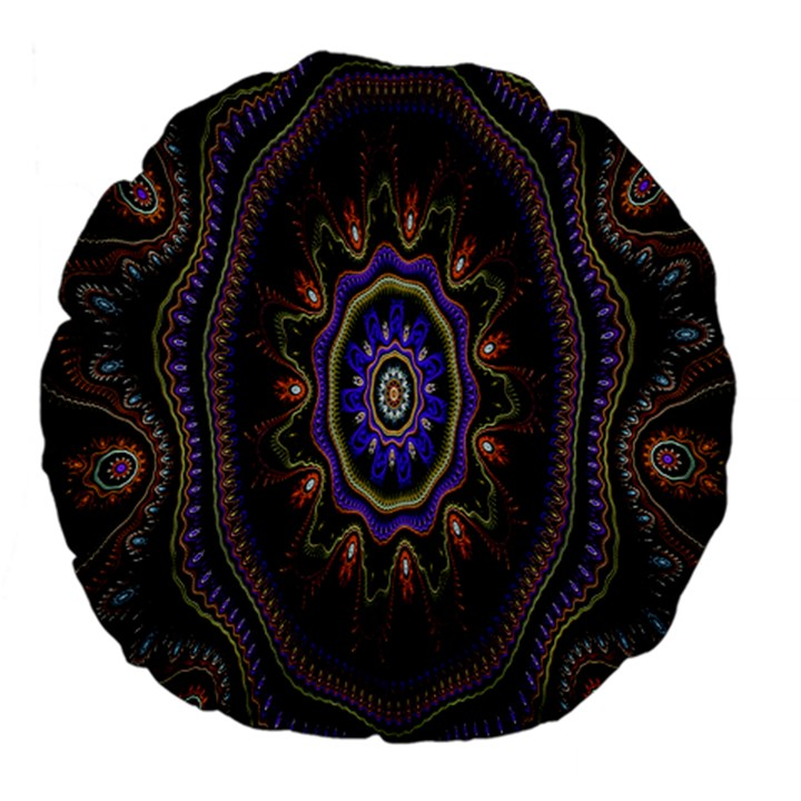 Fractal Vintage Colorful Decorative Large 18  Premium Flano Round Cushions