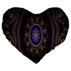 Fractal Vintage Colorful Decorative Large 19  Premium Flano Heart Shape Cushions