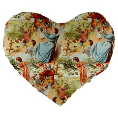 Seamless Vintage Design Large 19  Premium Heart Shape Cushions by Celenk