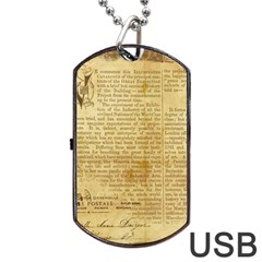 Vintage Background Paper Dog Tag Usb Flash (two Sides) by Celenk