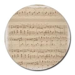 Vintage Beige Music Notes Round Mousepads by Celenk