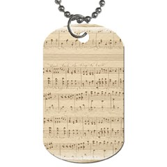 Vintage Beige Music Notes Dog Tag (one Side)