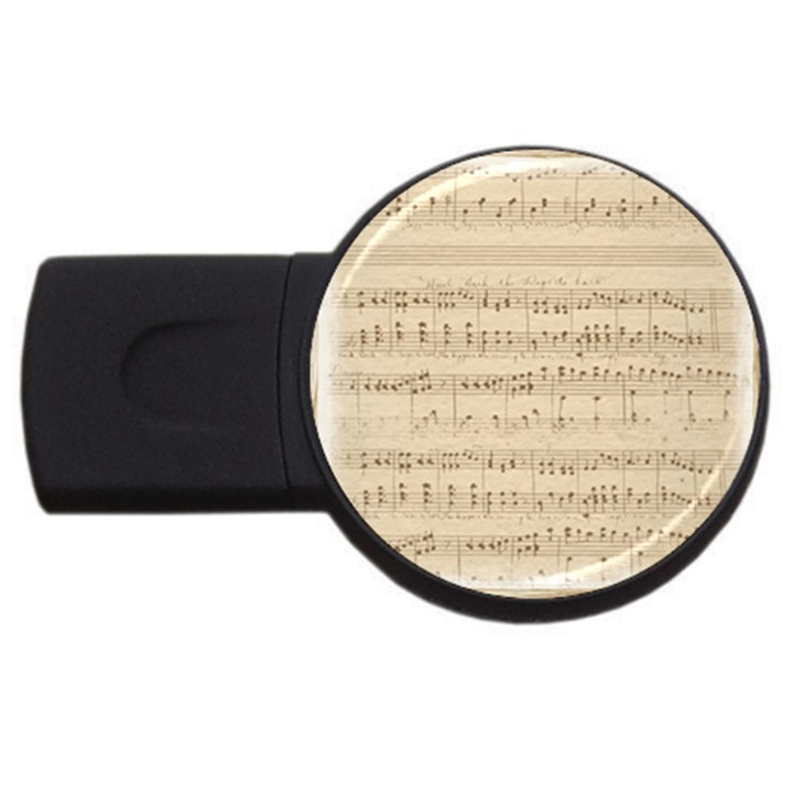 Vintage Beige Music Notes USB Flash Drive Round (2 GB)