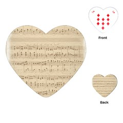 Vintage Beige Music Notes Playing Cards (heart)