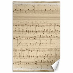 Vintage Beige Music Notes Canvas 24  X 36  by Celenk