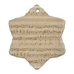 Vintage Beige Music Notes Snowflake Ornament (two Sides) by Celenk