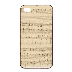 Vintage Beige Music Notes Apple Iphone 4/4s Seamless Case (black) by Celenk