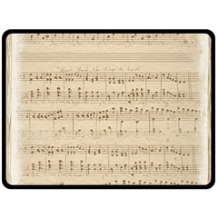 Vintage Beige Music Notes Double Sided Fleece Blanket (large)  by Celenk