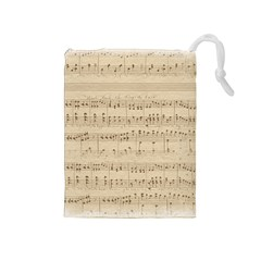 Vintage Beige Music Notes Drawstring Pouches (medium)  by Celenk