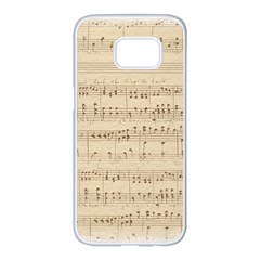 Vintage Beige Music Notes Samsung Galaxy S7 Edge White Seamless Case by Celenk