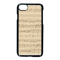 Vintage Beige Music Notes Apple Iphone 8 Seamless Case (black) by Celenk