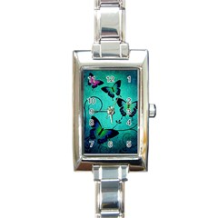 Texture Butterflies Background Rectangle Italian Charm Watch by Celenk