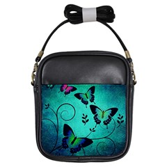 Texture Butterflies Background Girls Sling Bags by Celenk