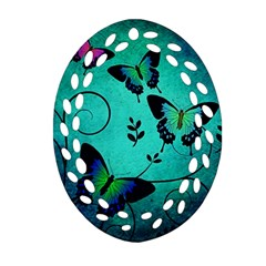 Texture Butterflies Background Oval Filigree Ornament (two Sides) by Celenk